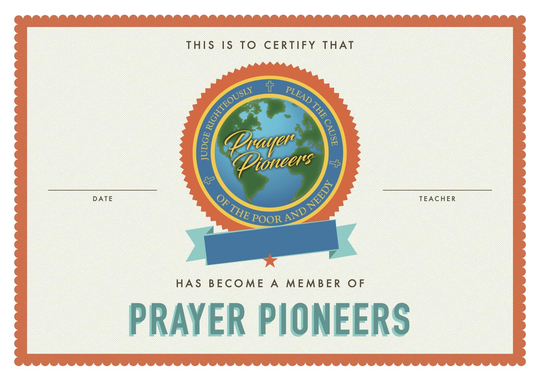 Prayer Pioneers Member - blank copy
