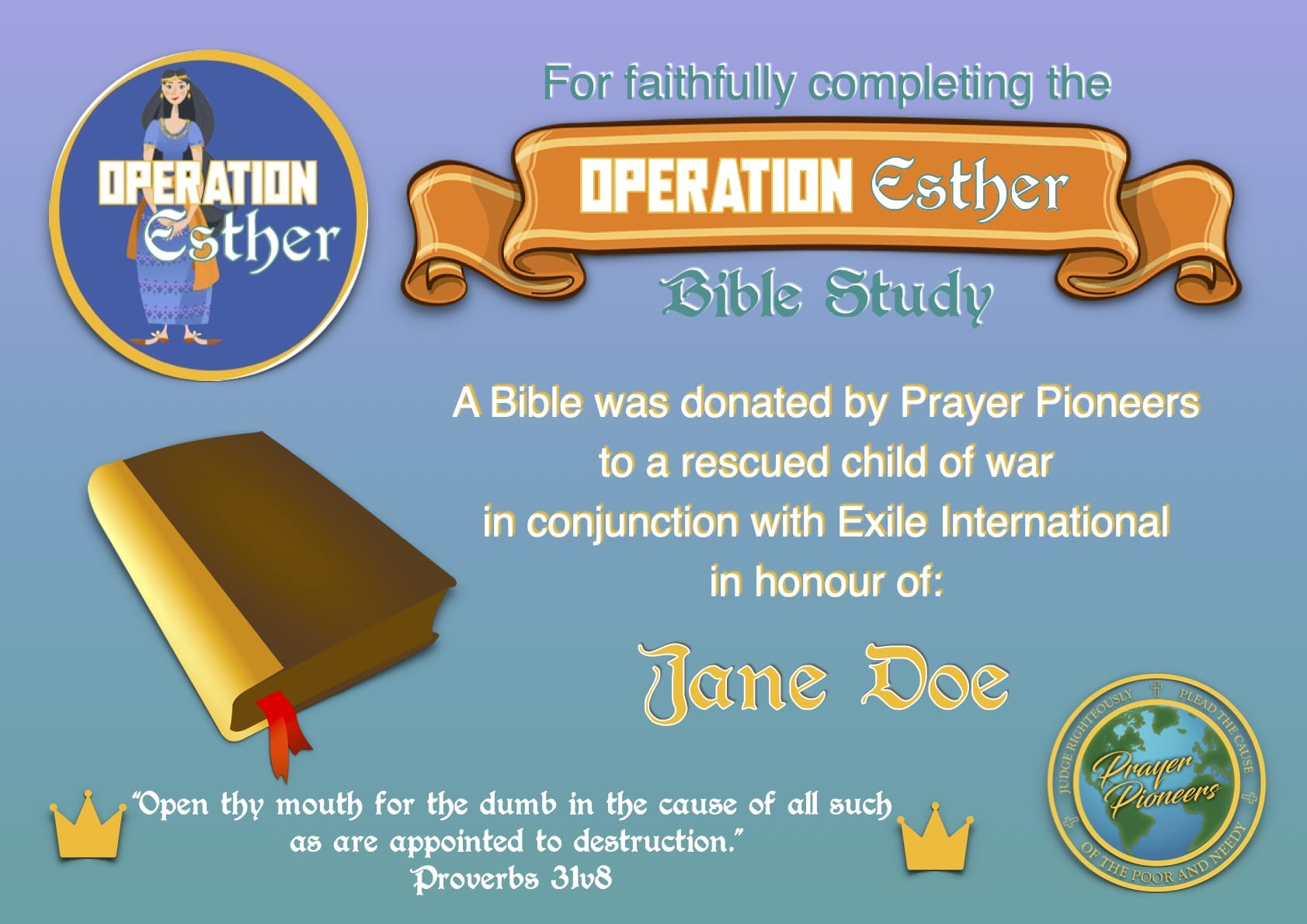 Operation Esther- Bible Donation Certificate