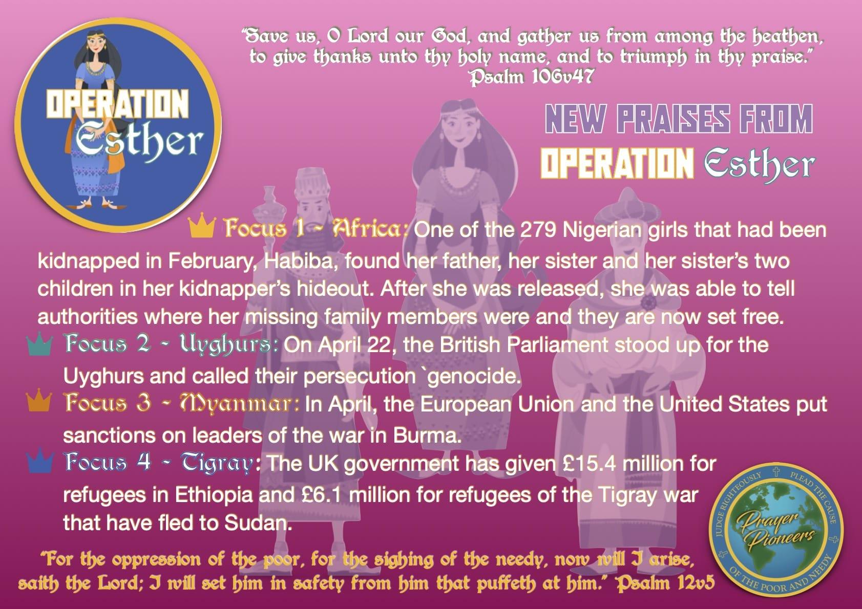 Operation Esther- Praise Focus