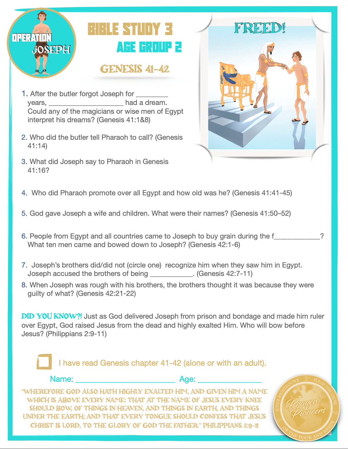 OJ - Bible Study 3 - Age Group 2