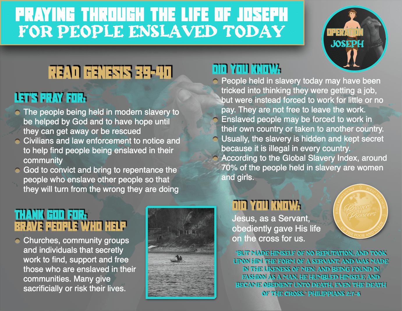 Operation Joseph - Teen Prayer Sheet 2